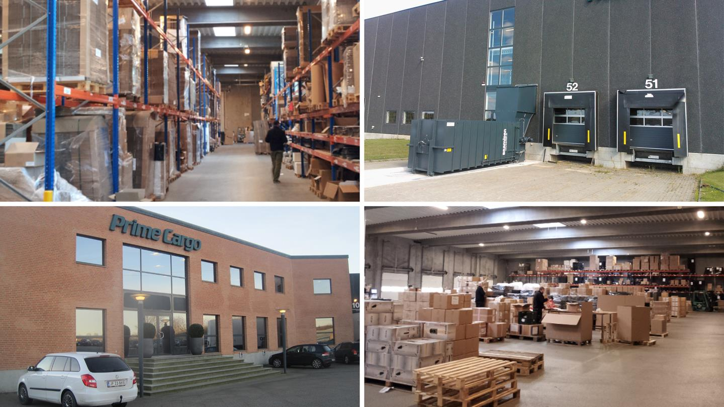 Warehouse at Prime Cargo and Static Compactors from Bramidan standing outside